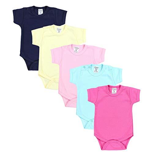 TupTam Mädchen Baby Body Kurzarm in Unifarben - 5er Pack, Farbe: Farbenmix 1, Größe: 56