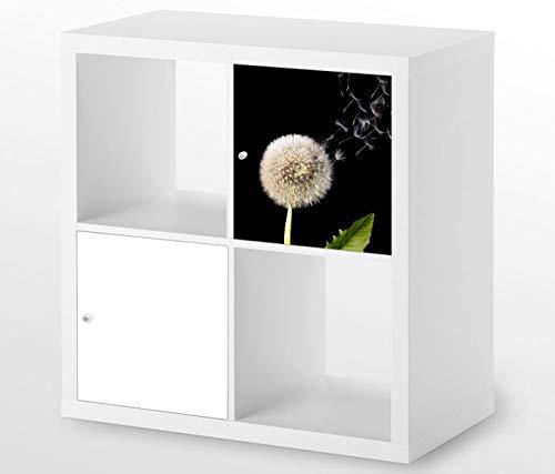 Möbelaufkleber für Ikea KALLAX / 1x Türelement Pusteblume fliegende Samen Kat7 Blume Aufkleber Möbelfolie sticker (Ohne Möbel) Folie 25D705