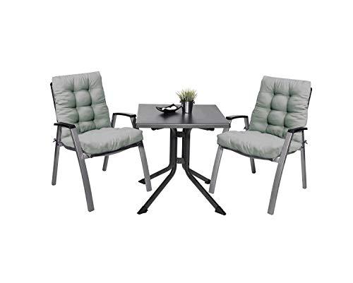 Pack 2 Cojines con Respaldo de Silla Jardin Conjunto Cojin de Asiento para Interior y Exterior Cómodo. Cojines para sillas, tumbonas, mecedoras terraza. (Gris)