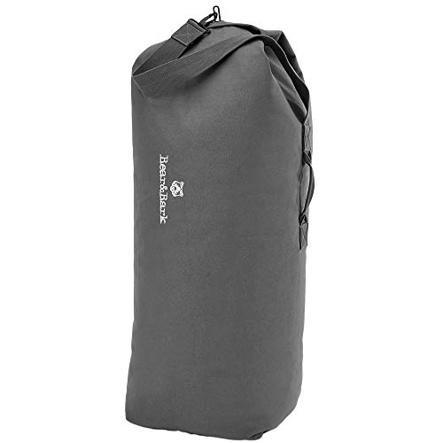 Top Load Duffle Bag - Grey 40x25' - 110.7L - Large Canvas Military and Army Cargo Style Carryall Duffel for Men and Woman – College Student, Backpacking, Travel and Storage Shoulder Bag