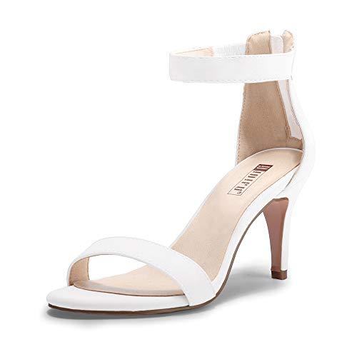 IDIFU Women's IN3 Slim Fashion Ankle Strap Kitten Heel Open Toe Heeled Sandals with Zipper (White Pu, 8MUS)