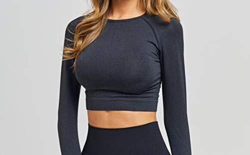 PJY Naadloze O-Hals Gym Sport Lange Mouwen Shirts Vrouwen Droge Slim Fit Vrouwen Fitness Crop Top met Duim Gaten