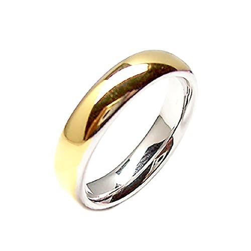 Gioielli Aurum - Alianzas de oro de 18 quilates bicolor amarillo y blanco grabado personalizable 2 unidades