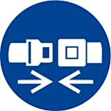 Etichetta adesiva pittogramma segnale di obbligo'Obbligatorio allacciare la cintura di sicurezza' - OR020-10 per confezione (50x50mm)
