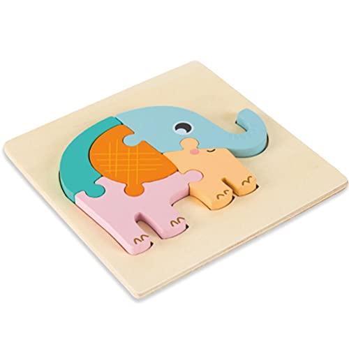 RUSTOO Rompecabezas de Animales de Madera, Juguete de Rompecabezas de Madera 3D, Juguetes de Rompecabezas de Madera para niños de 2 a 4 años, Juguetes educativos inspiradores, para niños