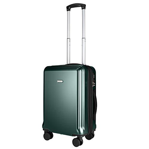 Amasava Valigia Trolley, Bagaglio a Mano 55 * 32.5 * 22CM 40L con 15% Spazio di Espansione Materiale di Alta Qualità PC+ABS per Viaggi Aerei con Serratura TSA Verde Scuro