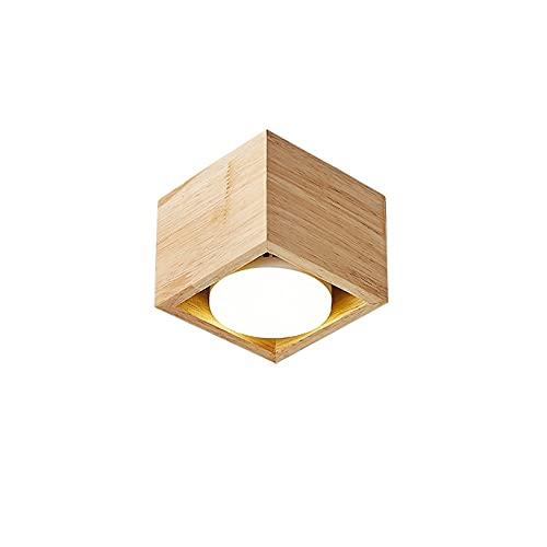 MRFX Downlight cuadrado de una sola cabeza, proyector de madera maciza LED, Downlight de mazorca de montaje en superficie, luz de caja de madera de estilo japonés, luz de techo de tres colores