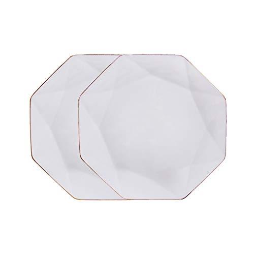 ZRJ Platos Placas para la Cena para la Cocina Blanco Placa de Cena Conjunto Microondas Cerámica Cerámica Hacer Postre Steak Pasta Vajillas (Color : White×2, tamaño : Small)
