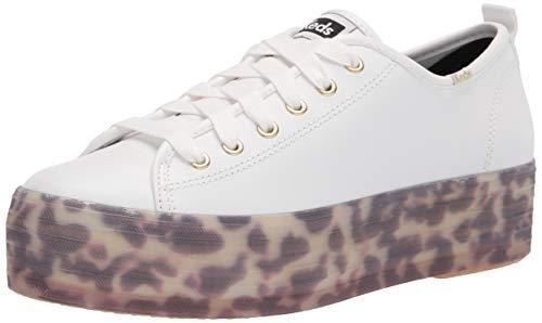Keds Women's Triple Up Sneaker, White Leather, 11
