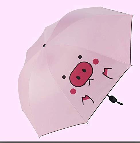 BIGBOBA. Cute Modello di Maialino Cartone Animato Rosa Ombrello Portatile Ombrello Tessuto Manico Antiscivolo Utile per Ragazza e Bambino