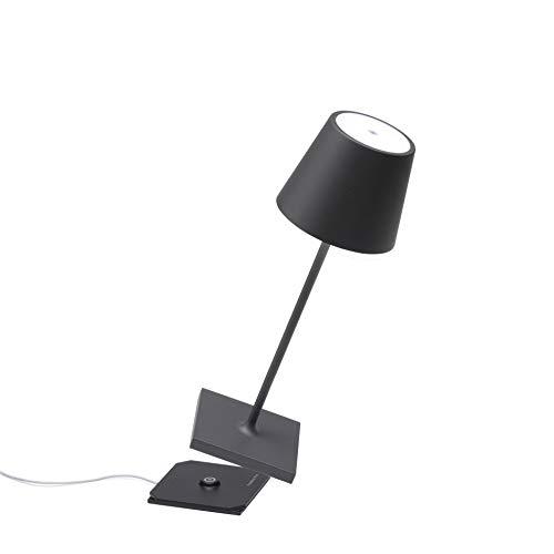 Zafferano Poldina Pro Mini-Dimmbare LED-Tischlampe aus Aluminium, Schutzart IP54, Verwendung im Innen-/Außenbereich, Kontaktladestation, H30cm, EU-Stecker (Dunkelgrau)