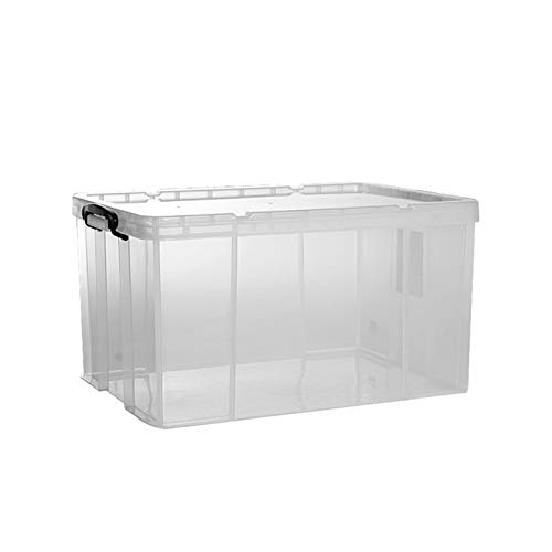 DFRE Almacenamiento apilable Bins, Robusto y Ligero de plástico Transparente Grande Sello hermético con la manija del envase Caja (Size : 100L)