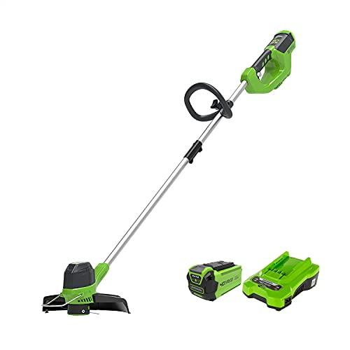 Greenworks Tools 2101507UA Decespugliatore a Batteria G40LTK2, Li-Ion 40 V, Larghezza 30 cm, 7000 RPM Testa Motore Girevole, Inclinabile Manico in Alluminio Flower, Verde, Nero, Grigio
