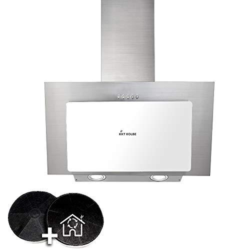 Kopffreie Dunstabzugshaube, Wandhaube (60cm, Edelstahl, Weißes Glas, LED-Beleuchtung, 3 Stufen, Druckknöpfe) BASE604WED - KKT KOLBE