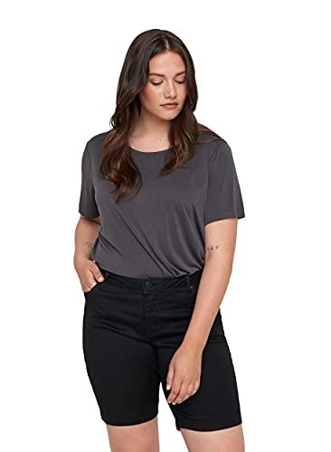 Zizzi Damen Shorts Große Größen Kurze Hose Regular Fit Casual Sommerhose , Farbe: Schwarz, Gr. 44