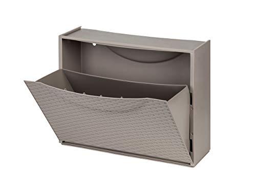 Schuhschrank Schuhkipper aus robustem Kunststoff in Taupé - Hält bis zu max. 3 Paar Schuhe - erweiterbar zu einem Schuhschrank - in tollem neuen RATTAN-DESIGN in Grau Braun! Toll
