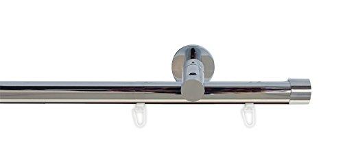 Tilldekor Innenlauf Gardinenstange HIGH-LINE ANDRAX, 1-Lauf, chrom, Ø 20 mm, 160 cm, inkl. Trägern und Gleitern