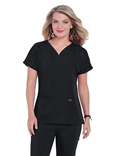 Koi Betsey Johnson B115 - Camiseta para mujer, Azul marino, S, Azul marino/flor y brillo