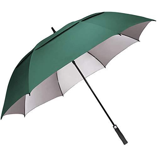 G4Free 54 inch Extra Large Windproof Golf Umbrella Automatic Open Umbrella Double Canopy Vented Anti UV Sun Protection Waterproof Oversize Stick Umbrellas for Men Women (Dark Green)