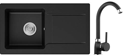 Évier de Cuisine en Granit Noir, 78 x 44 cm, Lavabo 1 bac + Robinet + Siphon Classique, 5 couleurs et variantes de robinets, Évier à Encastrer de Primagran