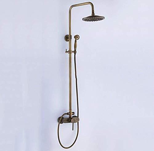 XUSHEN-HU Chrome Ducha de latón antiguo grifo mezclador de lluvia Conjunto de ducha con 8 pulgadas montado en la pared Grifo mezclador for ducha cascada ducha caliente y fría Bañera