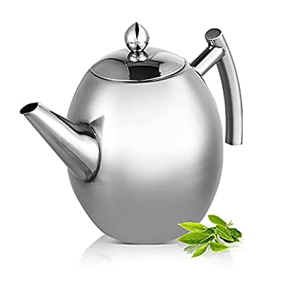 Stainless Steel Teapot Quart Tea Kettle Coffee Tea Pot Water Kettle with Removable Infuser Filter Large Capacity 33 oz (1L)