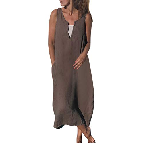 Zomerjurk dames linnen jurk V-hals strandjurken effen A-lijn jurk elegante partyjurk maxikjurk zomer katoen linnen mouwloos blousejurk casual grote jurk