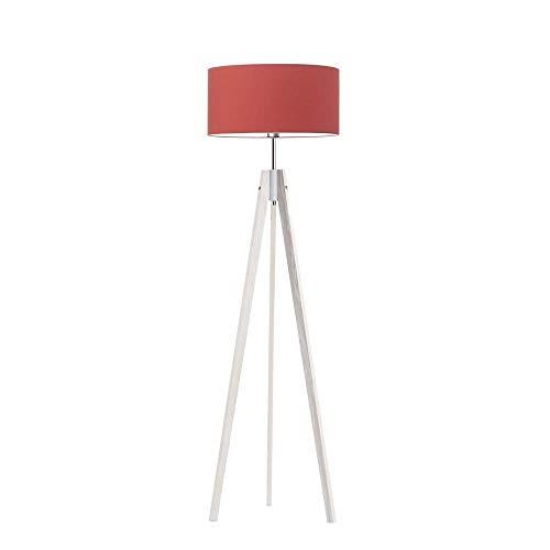 HAITI Lámpara de pie de madera, pantalla de color rojo, marco de madera blanca