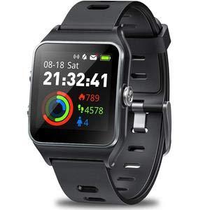 JBC Bluetooth Smartwatch Fitness Uhr für 17 Verschiedene Sportarten mit Fitness Tracker Smart Watch Sport Uhr mit Kamera Schrittzähler Schlaftracker Kompatibel mit Android Smartphone (schwarz)