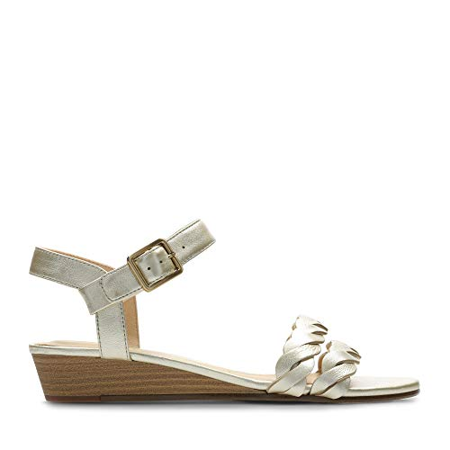 Clarks Mena Blossom, Zapatos de Tacón para Mujer, Plateado (Champagne-), 38 EU