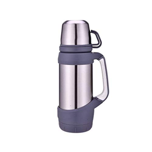 CCBCZ Double Cup Water Bottle Cup with Handle, Stainless Steel Insulated Vacuum Outdoor Large Capacity Thermos 1200 Ml (Color : Silver)