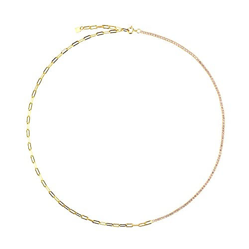 Pulsera de cadena de circonita arcoíris de plata esterlina 925 joyería de moda para mujer fina rock punk color color gift-45cm collar rosa