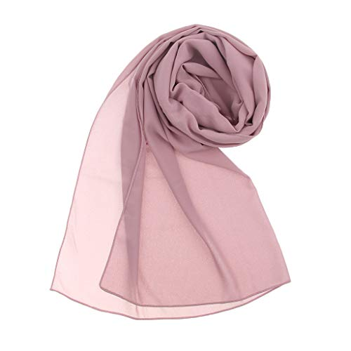 P Prettyia Chiffon Kopftuch Hijab Schal Islam Arabisch Orientalisch Halstuch Übergangsschal Übergröße Einfarbig Schlauch für Damen - Rosa