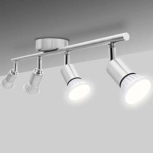 National Electronics Deckenstrahler 4-Flammig GU10 3,5W 250 Lumen SMD LED Deckenlampe AC 230V 120° Deckenleuchte warmweiß