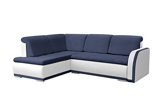 mb-moebel Ecksofa Sofa Eckcouch Couch mit Schlaffunktion und Bettkasten Ottomane L-Form Schlafsofa Bettsofa Polstergarnitur - VERO II (Ecksofa Links,...