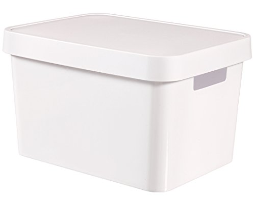 Curver - Caja Organizadora Infinity con Tapa y con Asas Lisa 17L. - Color Blanco