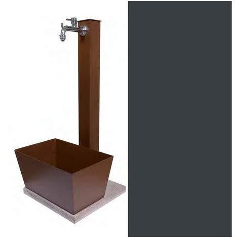 BEL-FER Fontana in Metallo da Giardino con capiente vaschetta Rettangolare e Base in Cemento 40 x 40 cm, Modello 42 QVR Colore Antracite