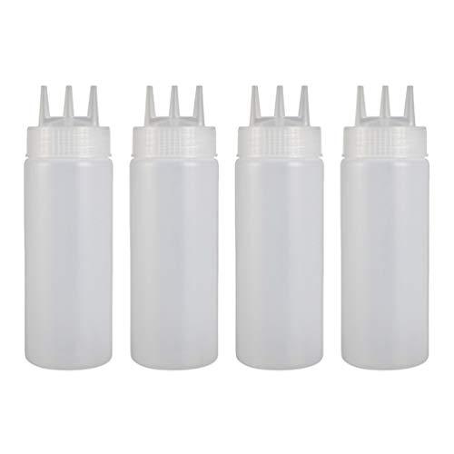 Hemoton 4 Stück Küche Nachfüllbare Quetschflasche 3 Loch Marmelade Dressing Senf Spender Flasche Leer Honig Spritzbehälter für zu Hause Küche Restaurant Weiß 360Ml