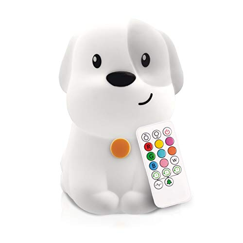 LumiPet Puppy Kids Night Light, Huggable Nursery Light for Baby and Toddler, Silicone LED Lamp, Remote Operated, USB Rechargeable Battery, 9 Available Colors, Timer Auto Shutoff