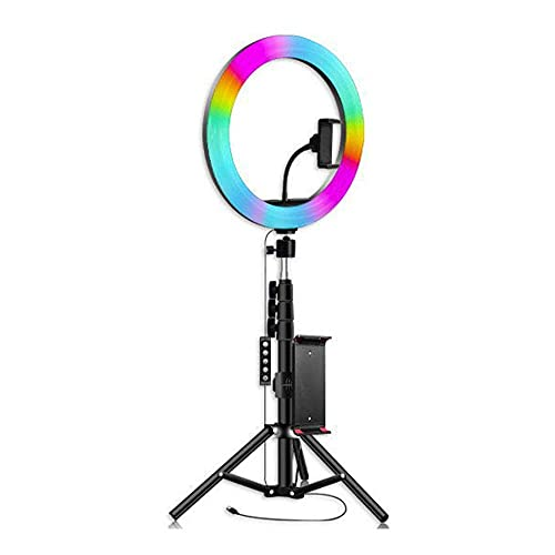 26cm RGB Estilo Musical Anillo LED Belleza en Vivo Luz de Relleno 1,5 m Trípode en Vivo Bluetooth Selfie Fotografía USB Luz de Relleno en Vivo