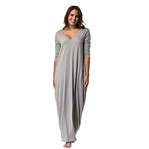 Kanpola Damen Nachthemden Kleid Lange Nachthemd Große Größen Locker Winter Worm Baumwolle Bademäntel Morgenmäntel Elegant Schlafanzüge Nachtwäsche (2XL/44, Grau)