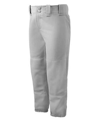 Mizuno Girls Belted Softball Pant, Grey, Large