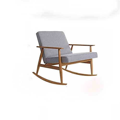 Silla gris claro madera maciza simple mecedora relajación silla sillón reclinable silla de relajación silla de lino con asiento tapizado cómodo