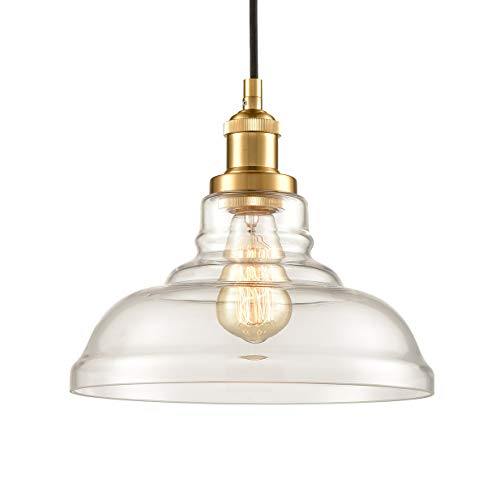 Brass Clear Glass Pendant Lights Barn Shape Hanging Pendant...