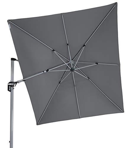 Doppler hochwertiger XXL Ampelschirm Active 350 x 260 cm in anthrazit, in alle Richtungen schwenkbar, UV-Schutz 50 Plus, inklusive Plattenständer