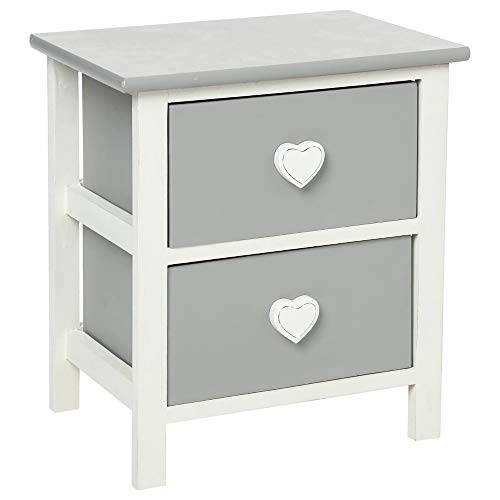Comodino, cassettiera con 2 cassetti - Pomelli a forma di cuore - In legno bianco e grigio