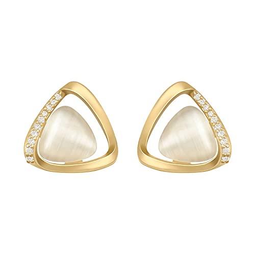 FACHA Accesorios de ropa Pendientes de oro con triángulo geométrico y ópalo para mujer, joyería gótica, para fiesta, niña, (color: oro, tamaño: M)
