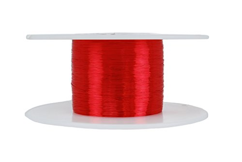 TEMCo 42 AWG Copper Magnet Wire - 4 oz 12210 ft 155°C Magnetic Coil Red