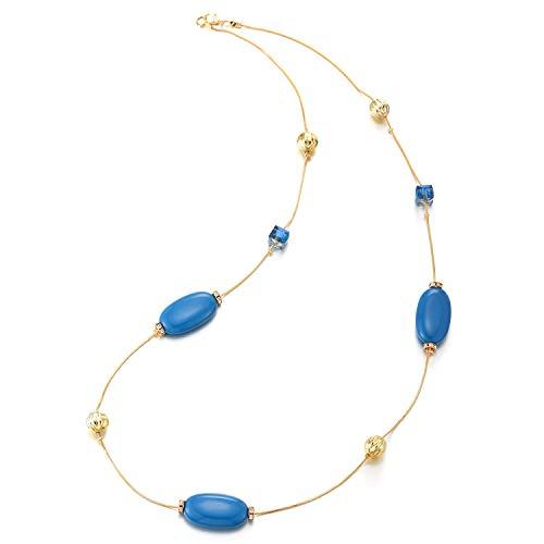 iMECTALII Estivi Chic Boho Statement Dichiarazione Collana Lunga Blu Perline Catena con Cristallo Charms Pendente Abito da Sera