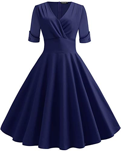 WERIDEDIRT Women's 1950s Vintage Deep V Neck Half Sleeve Retro Cocktail Swing Dress